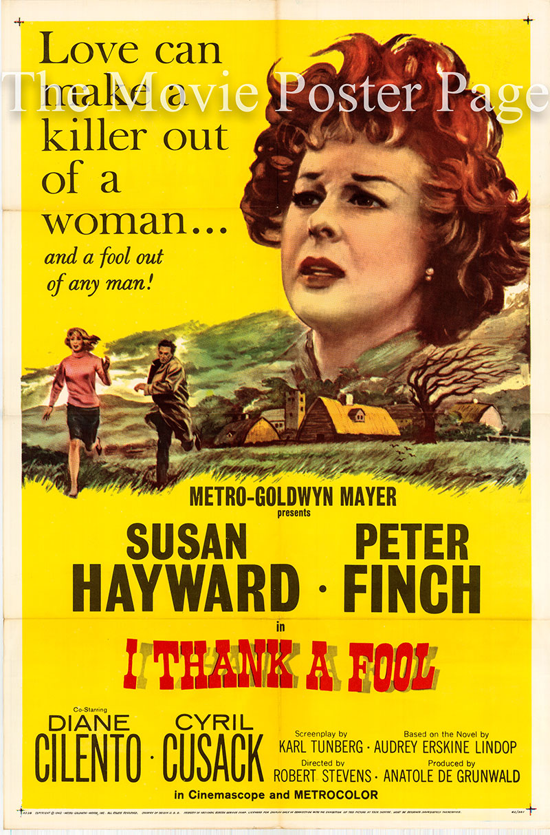 Pictured is a US one-sheet poster for the 1962 Robert Stevens film I thank a fool starring Susan Hayward.
