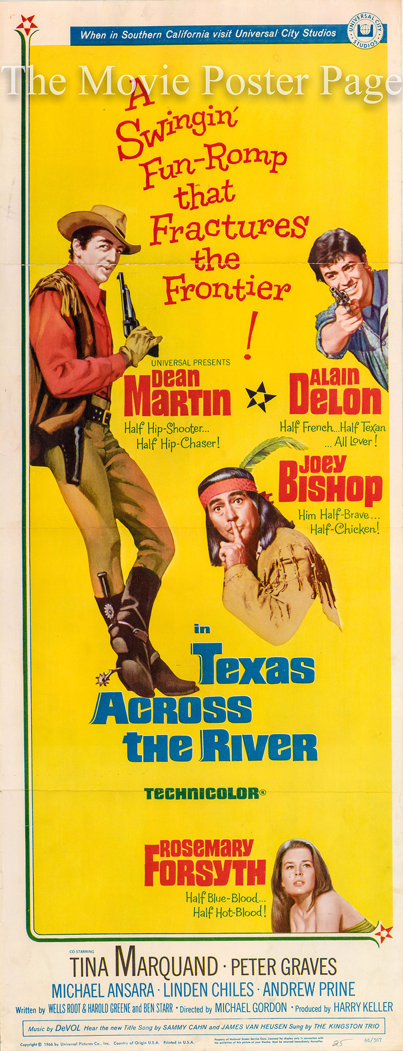 Pictured is a US insert poster for the 1966 Michael Gordon film Texas across the River starring Dean Martin as Sam Hollis.