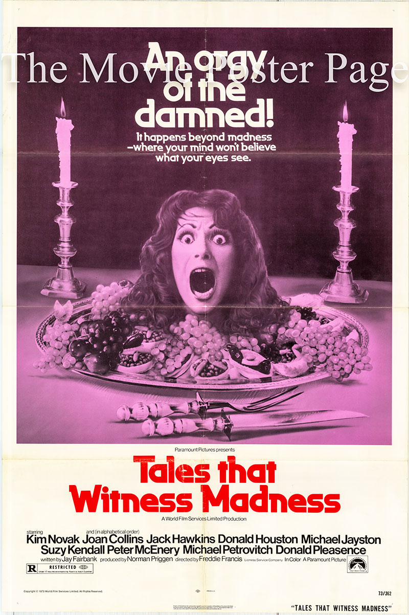 Pictured is a US one-sheet poster for the 1973 Freddie Francis film Tales that Witness Madness starring Kim Novak as Auriol.