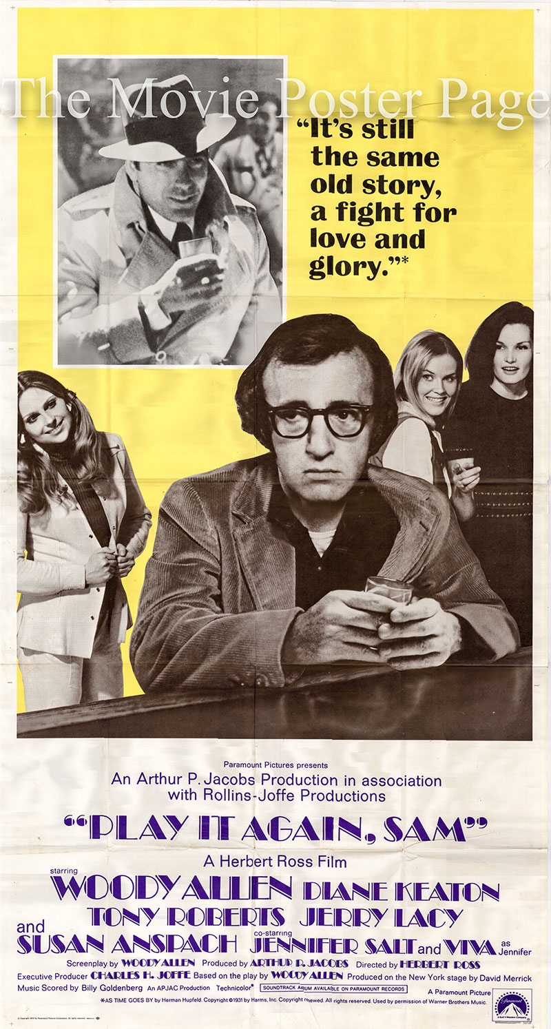 Pictured is a US three-sheet promotional poster for the 1972 Herbert Ross film Play it Again Sam starring Woody Allen as Allan.