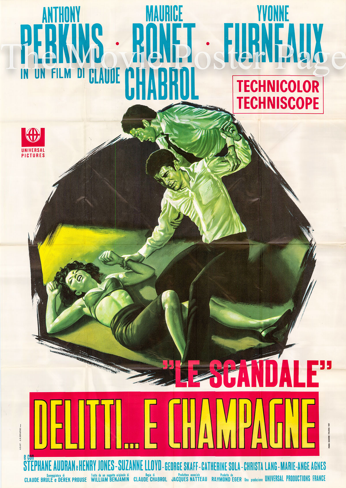 Pictured is an Italian two-sheet poster for the 1966 Claude Chabrol film <i>The Champagne Murders</i> starring Anthony Perkins.