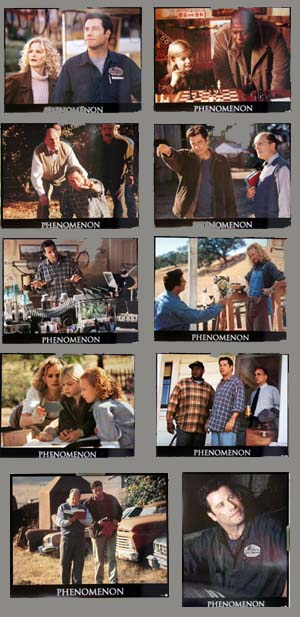 Pictured is a US lobby card set for the 1996 Jon Turteltaub film Phenomenon starring John Travolta as George Malley.