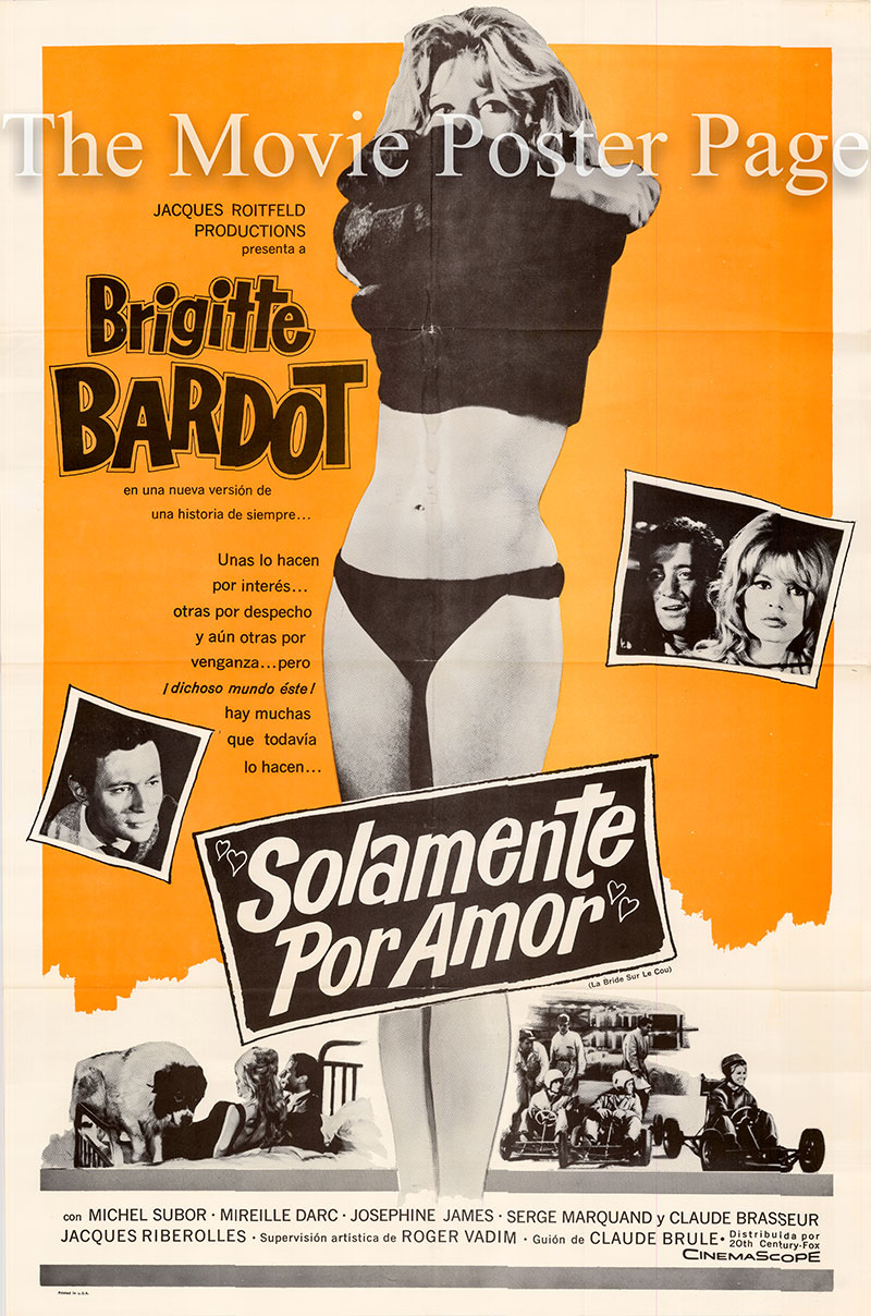 Pictured is a US one-sheet poster for the 1961 Roger Vadim film Please Not Now starring Brigitte Bardot.