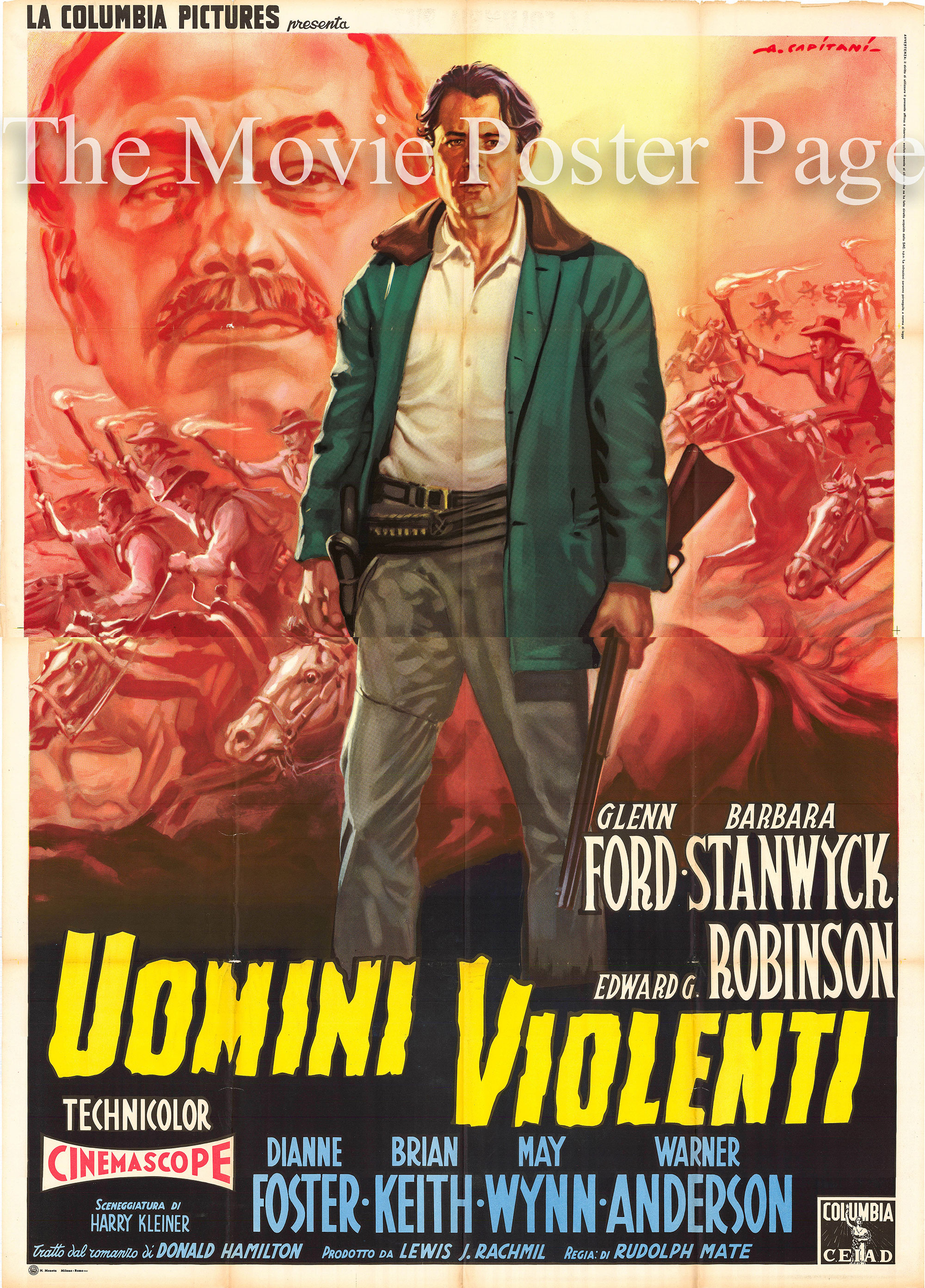 This is an Italian four-sheet poster made to promote the 1955 Rudolph Mate film <i>The Violent Men</i> starring Glenn Ford as John Parrish.
