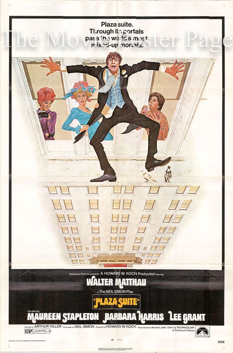 Pictured is a US one-sheet poster for the 1971 Arthur Hiller film Plaza Suite starring Walter Matthau as Roy Hubley.