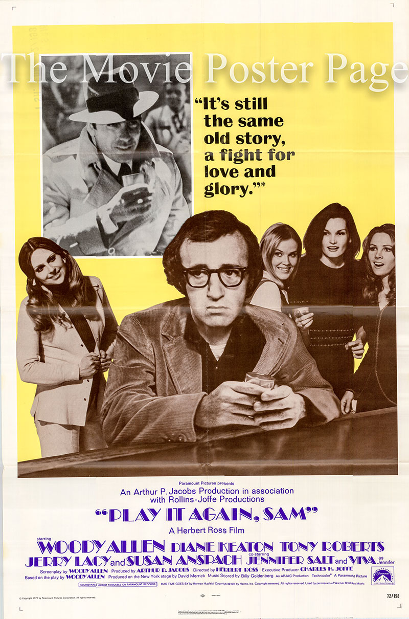 Pictured is a US one-sheet promotional poster for the 1972 Herbert Ross film Play it Again Sam starring Woody Allen as Allan.