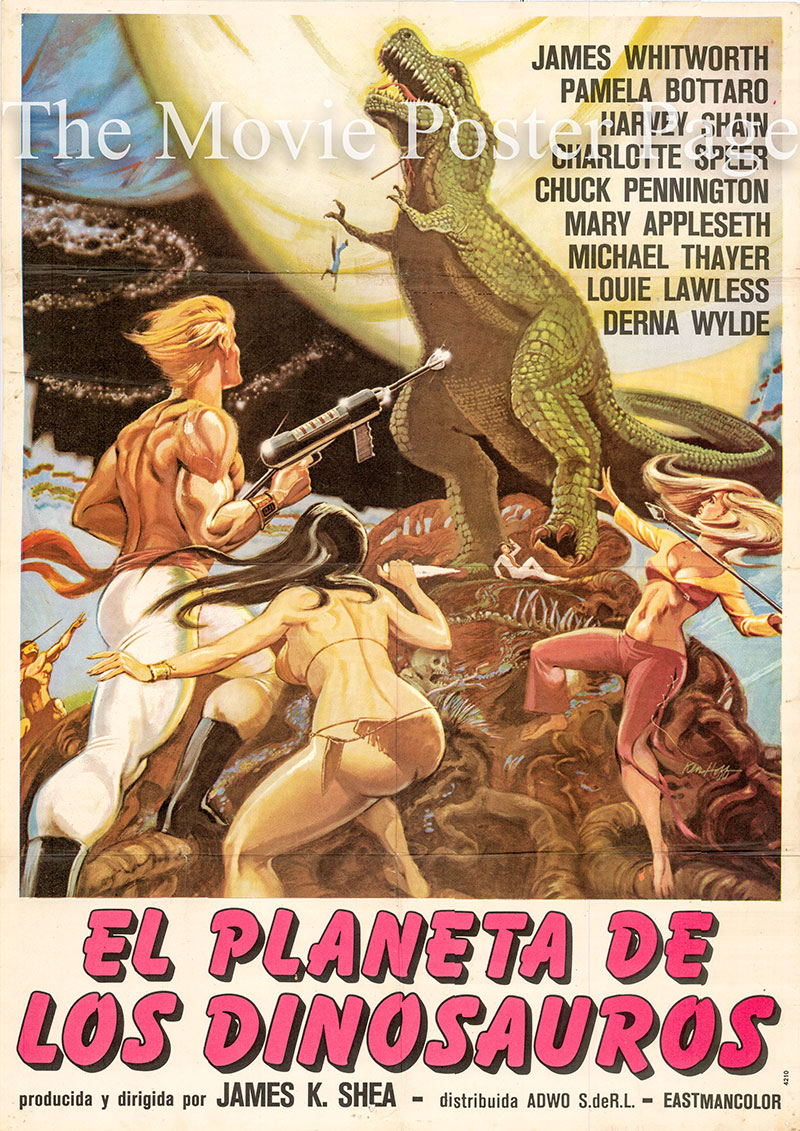Pictured is a Spanish one-sheet poster for the 1977 James K. Shea film Planet of the Dinosaurs starring James Whitworth as Jim.