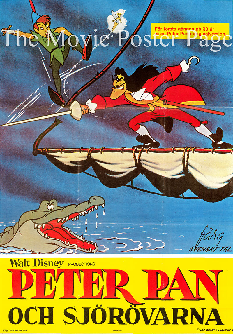 Pictured is a Swedish one-sheet poster for a 1970s rerelease of the 1953 Clyde Geronimi, Hamilton Luske and Wilfred Jackson film Peter Pan starring Bobby Driscoll as the voice of Peter Pan.