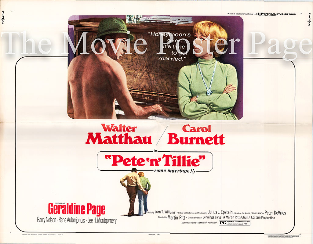 Pictured is a US half-sheet poster for the 1973 Martin Ritt film Pete n Tillie starring Walter Matthau and Carole Burnett.