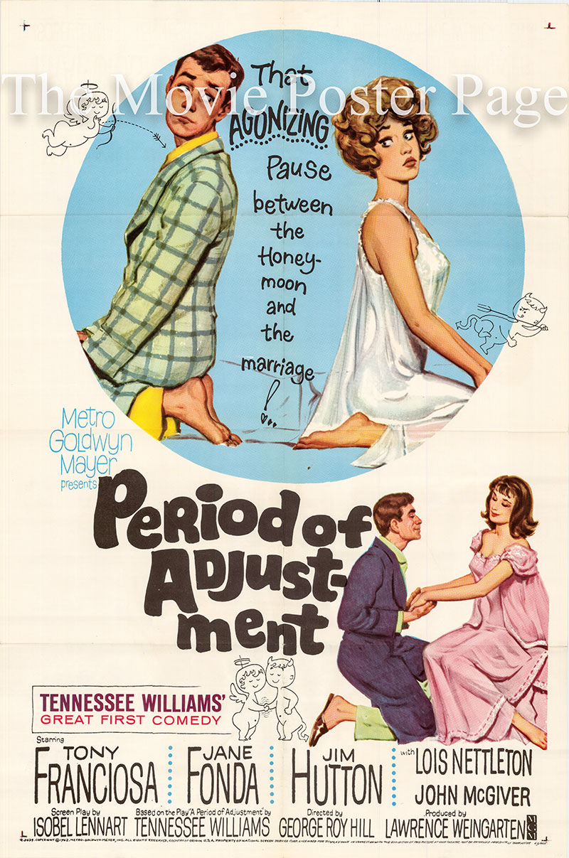 Pictured is a US one-sheet poster for the 1962 George Roy Hill film Period of Adjustment starring Tony Franciosa and Jane Fonda.