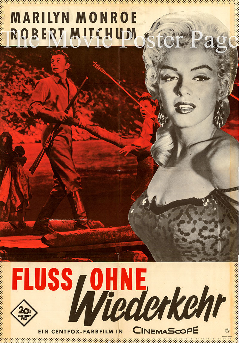 Pictured is a German one-sheet poster for a 1961 rerelease of the 1954 Otto Preminger film River of No Return starring Marilyn Monroe as Kay Weston.