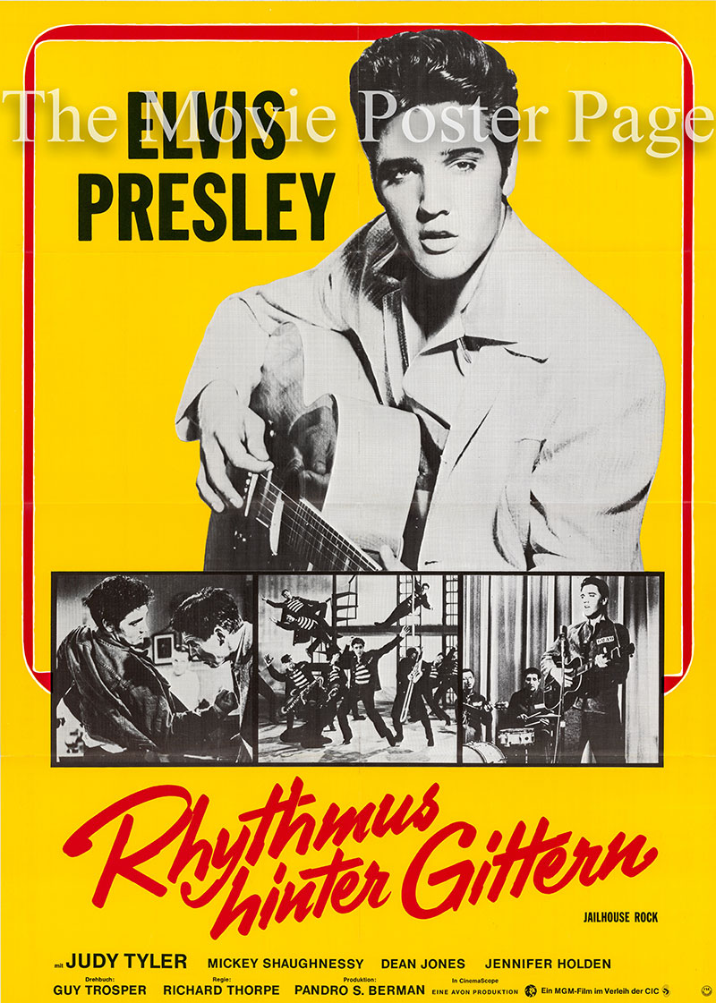 Pictured is a German one-sheet poster for a 1972 rerelease of the 1967 Richard Thorpe film Jailhouse Rock starring Elvis Presley.
