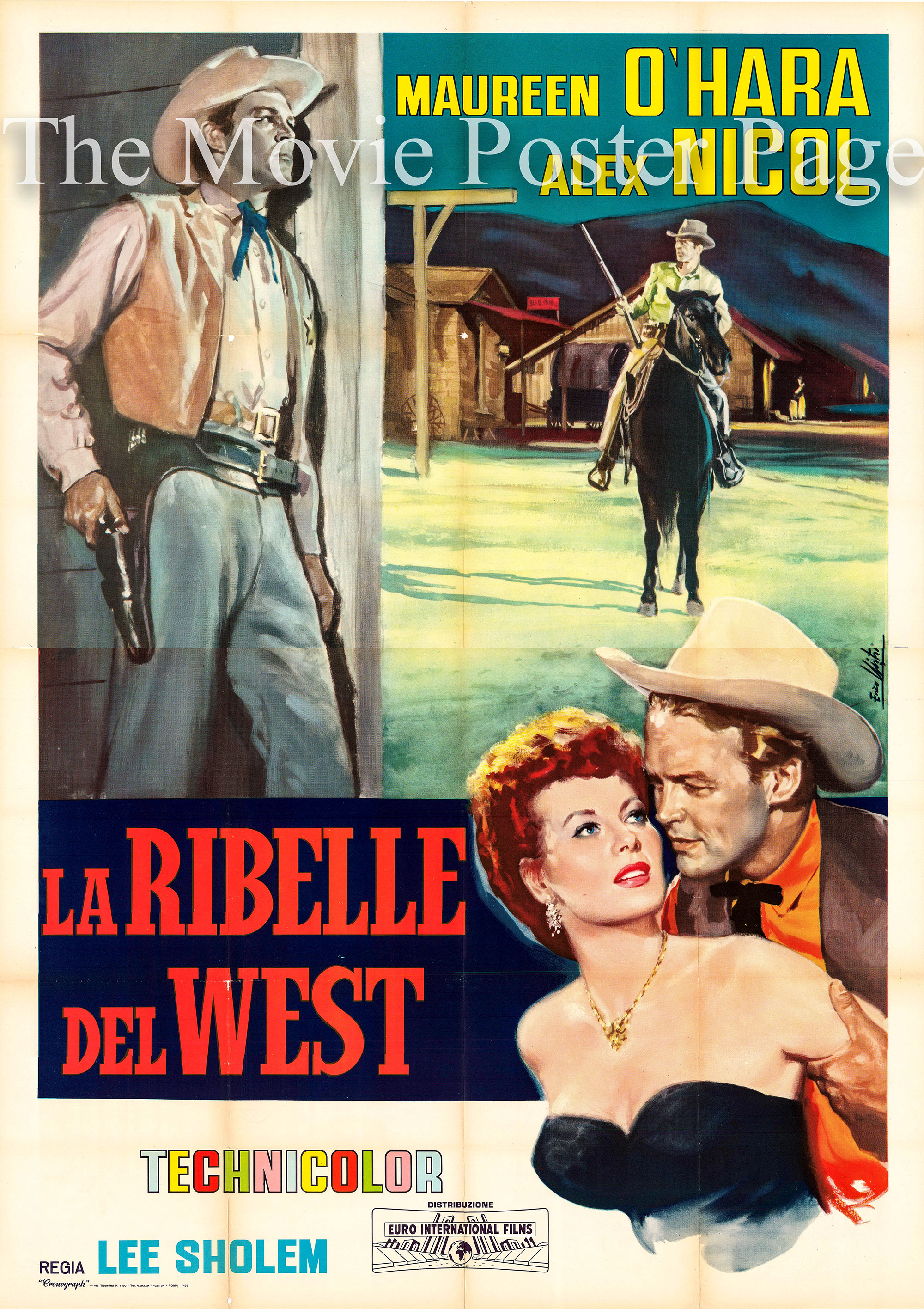 Pictured is an Italian four-sheet poster for the 1953 Lee Sholem film The Redhead from Wyoming starring Maureeen O'Hara.