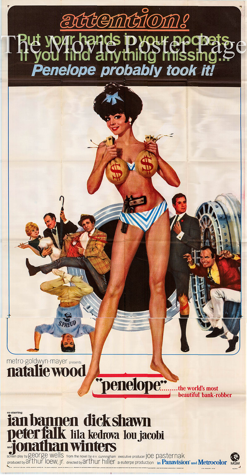 Pictured is a US three-sheet poster for the 1966 Arthur Hiller film Penelope starring Natalie Wood.