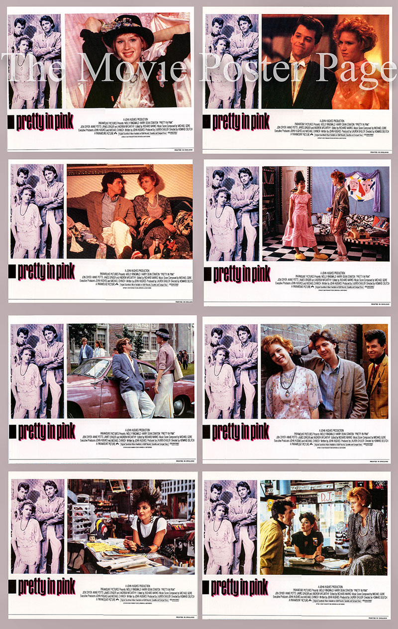 Picture is a UK lobby card set for the 1986 Howard Deutch film Pretty in Pink starring Molly Ringwald as Andie Walsh.