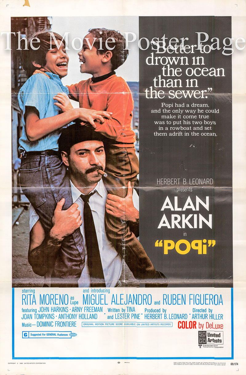 Pictured is a US one-sheet for the 1969 Arthur Hiller film Popi starring Alan Arkin as Abraham.