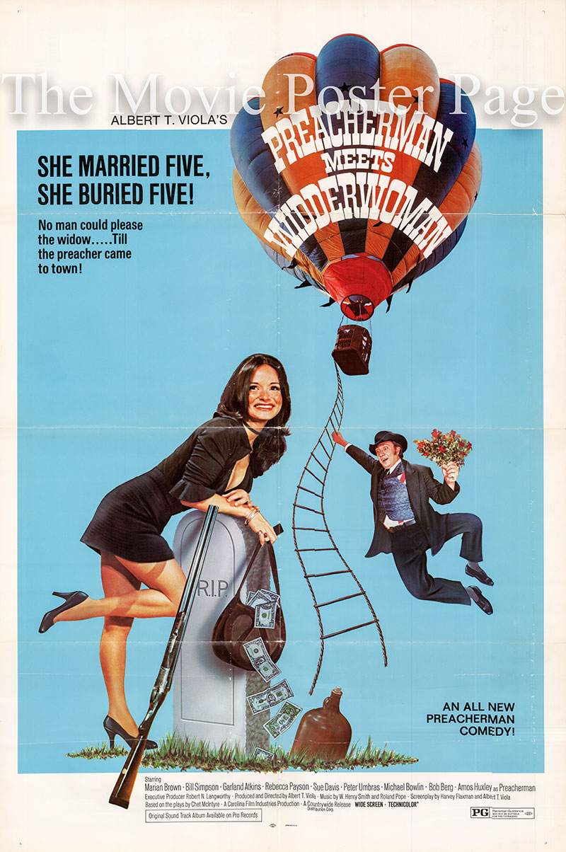 Pictured is a US one-sheet poster for the 1973 Albert T. Viola fiolm Preacherman Meets Widderwoman starring Albert T. Viola as Amos Huxley.