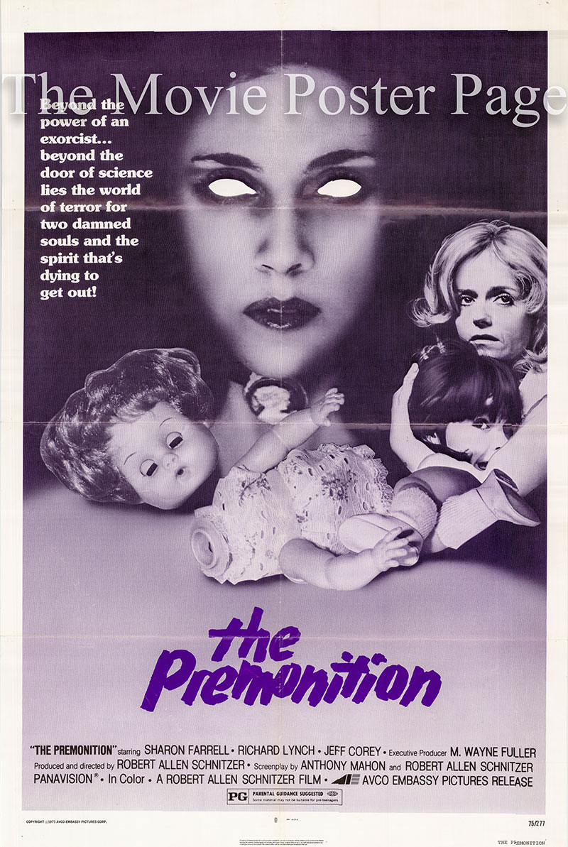 Pictured is a US one-sheet poster for the Robert Allen Schnitzer film The Premonition starring Sharon Farrell.