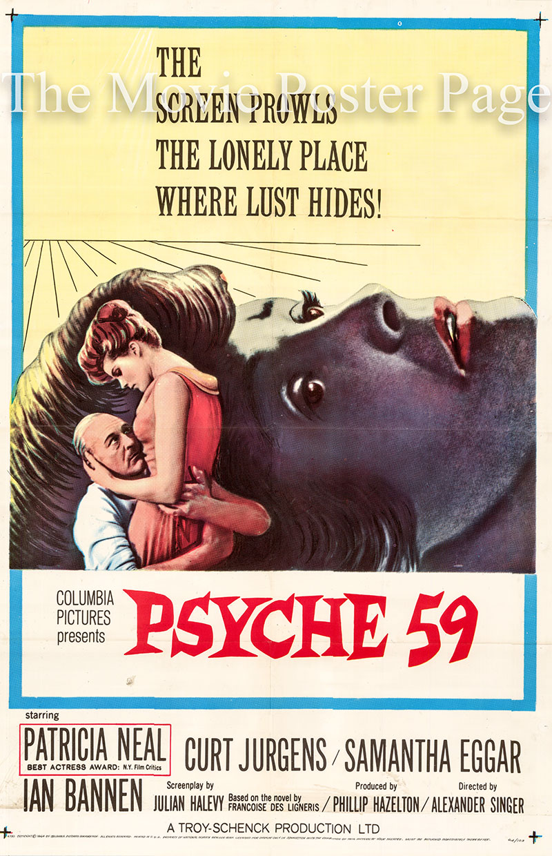 Pictured is a US one-sheet poster for the 1964 Alexander Singer film Psyche 59 starring Patricia Neal.
