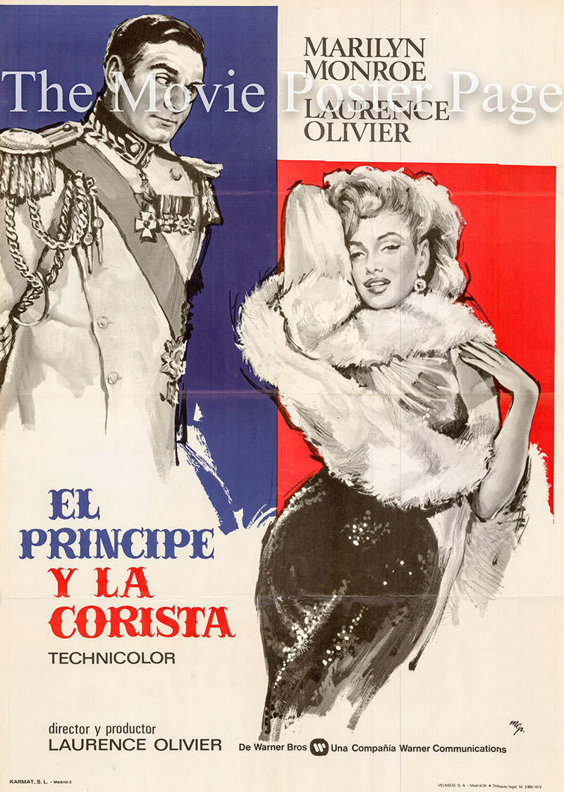 Pictured is a Spanish promotional poster for the 1957 Laurence Olivier film the Prince and the Showgirl, starring Marilyn Monroe and Laurence Olivier.