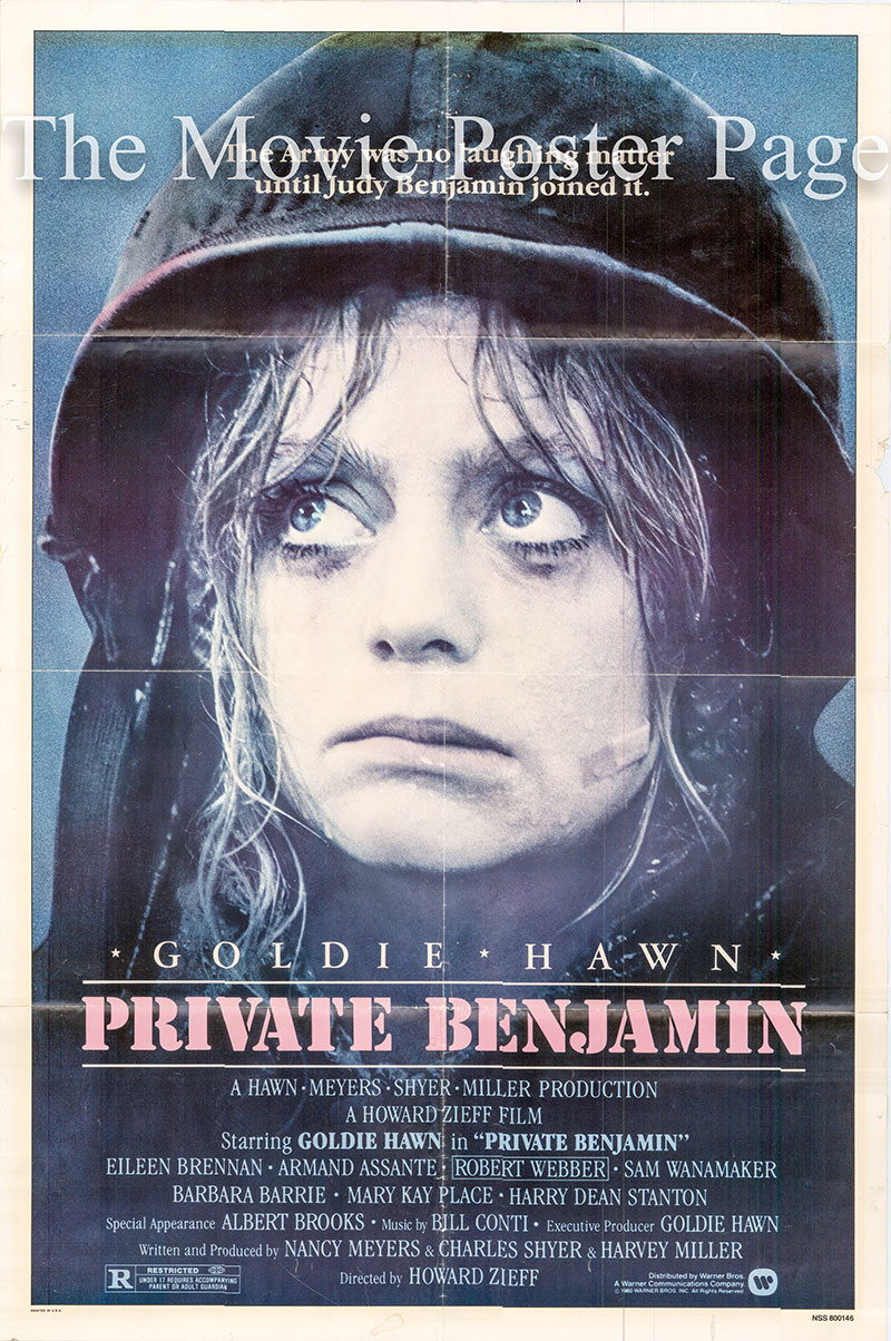 Pictured is a US one-sheet poster for the 1980 Howard Zieff film Private Benjamin starring Goldie Hawn as Judy Benjamin.