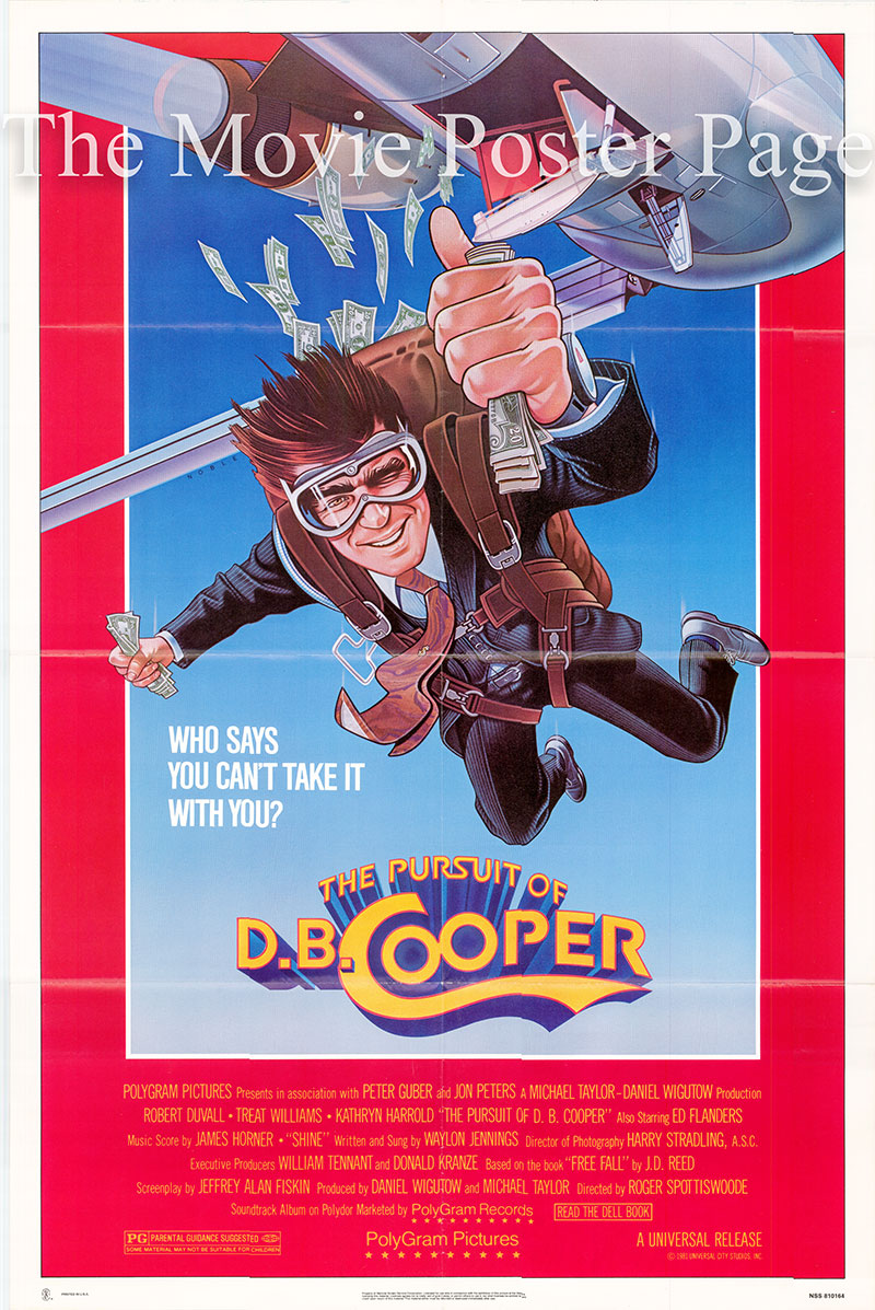 Pictured is a US one-sheet promotional poster for the 1981 Roger Spottiswoode film The Pursuit of D.B. Cooper starring Robert Duvall.