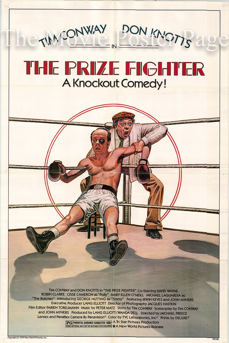 Pictured is a US one-sheet poster for the 1979 Michael Preece film The Prize Fighter starring Don Knotts as Shake.