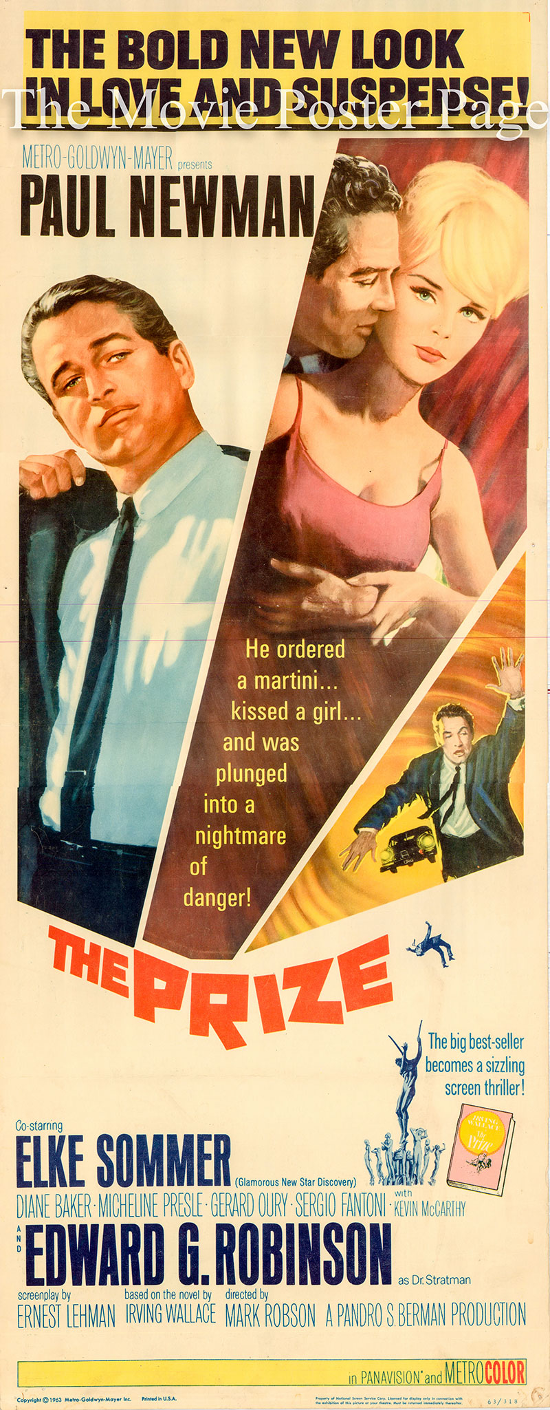 Pictured is a US insert poster for the 1963 Mark Robson film The Prize starring Paul Newman.