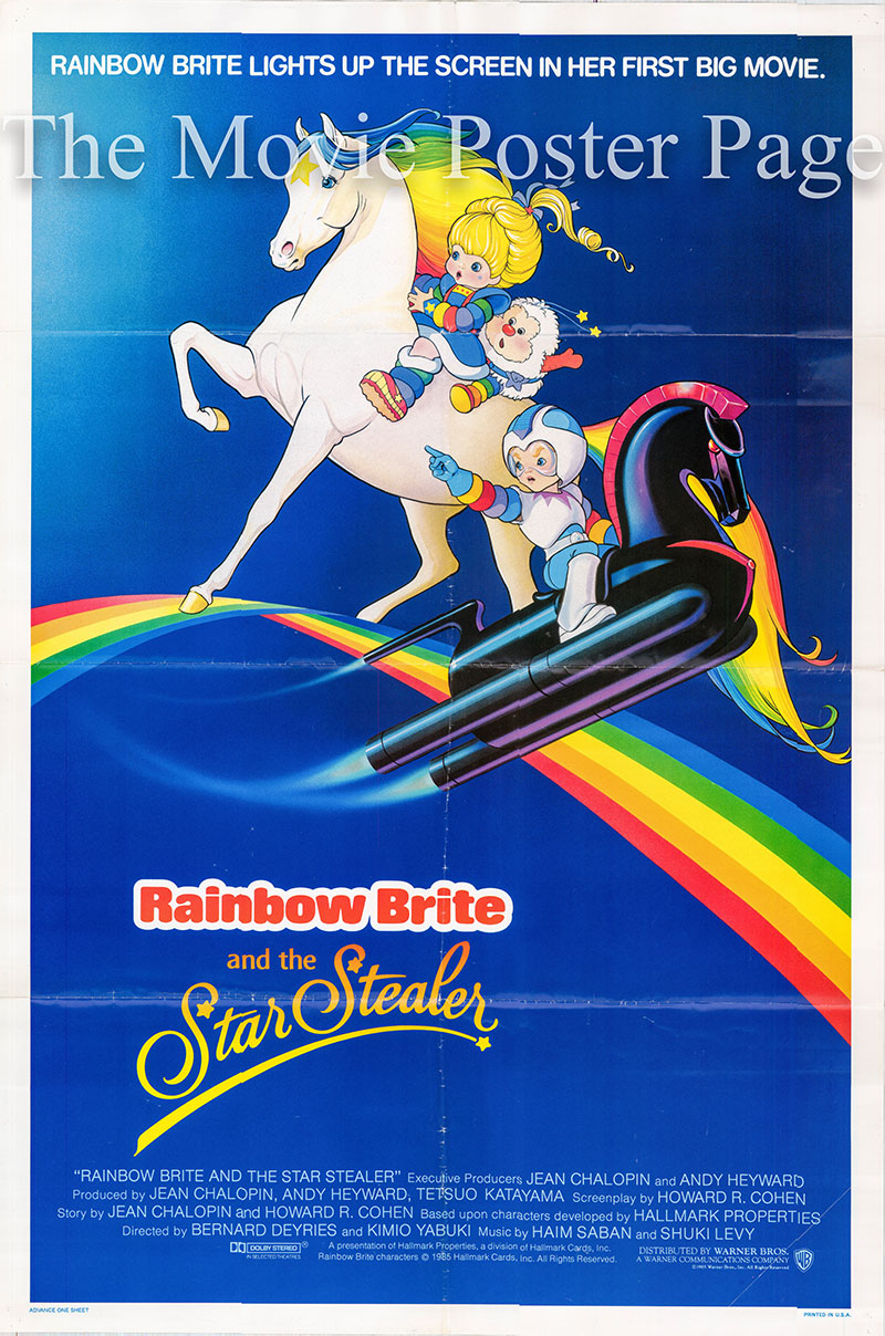 Pictured is a US promotional poster for the 1985 Bernard Deyries and Kimio Yabuki film Rainbow Brite and the Star Stealer starring Pat Fraley as the voice of Lurkey and Rhonda Aldrich as the voice of the Princess.