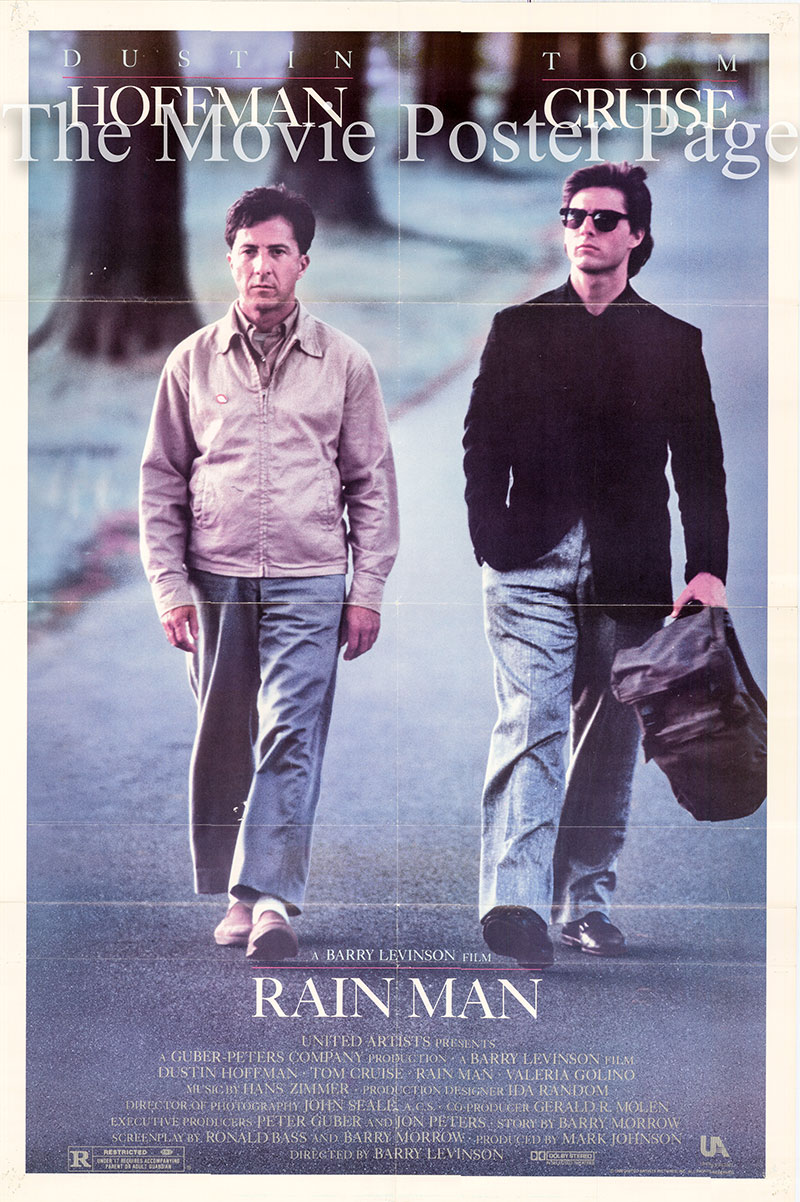 Pictured is a US one-sheet poster for the 1988 Barry Levinson film Rainman starring Dustin Hoffman as Raymond Babbitt.
