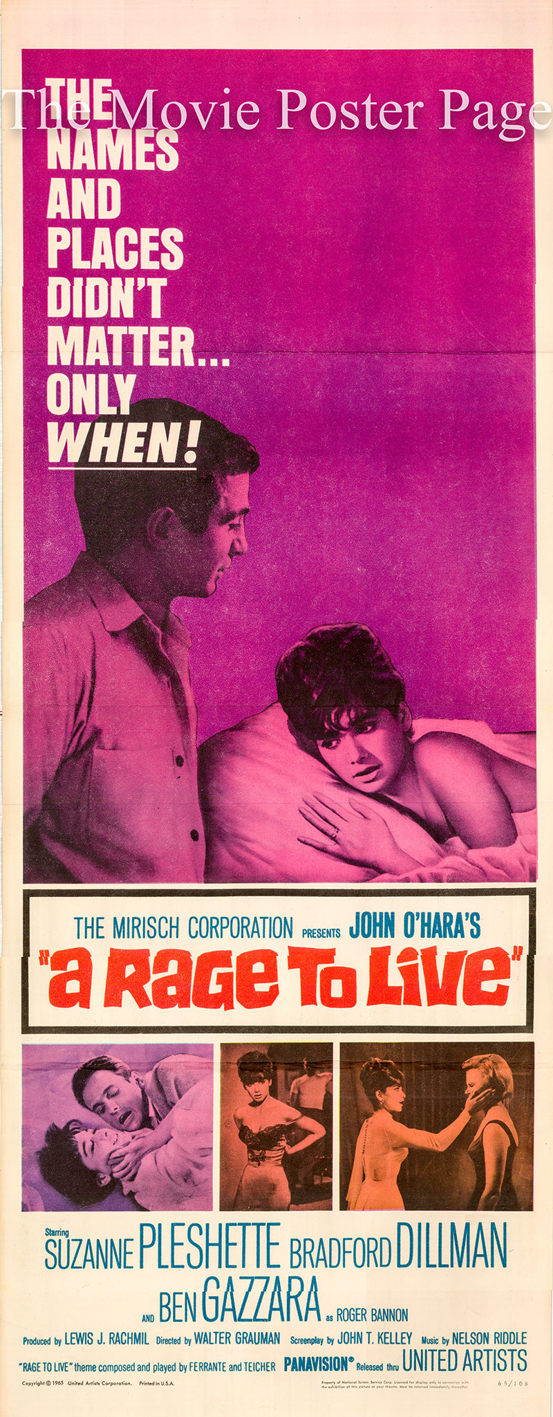 Pictured is a US insert poster for the 1965 Walter Grauman film A Rage to Live starring Suzanne Pleshette as Grace Caldwell Tate.