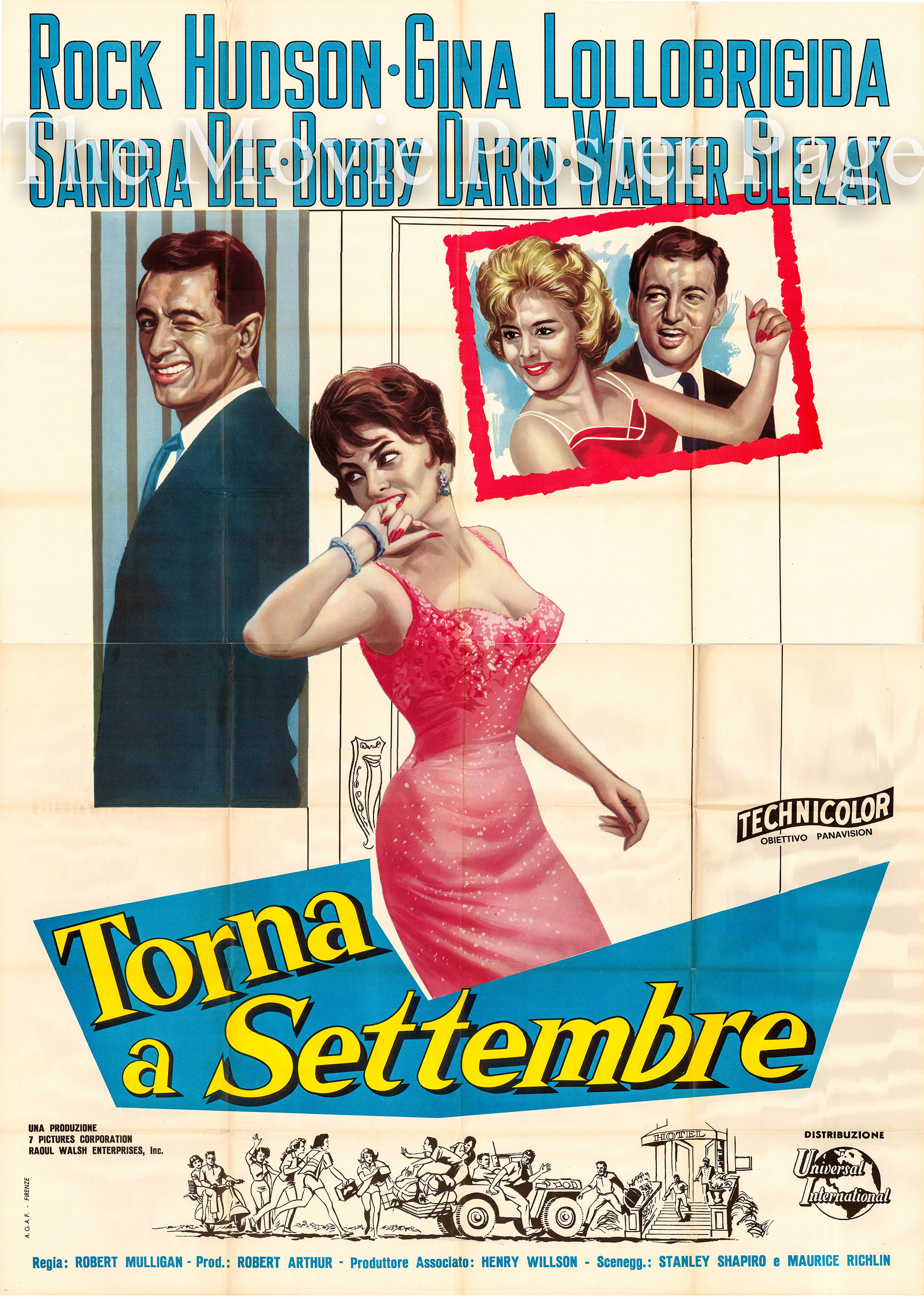 Pictured is an Italian 4-sheet promotional poster for the 1961 Robert Mulligan film Come September starring Rock Hudson, Sandra Dee, Bobby Darin and gina Lollobrigida.