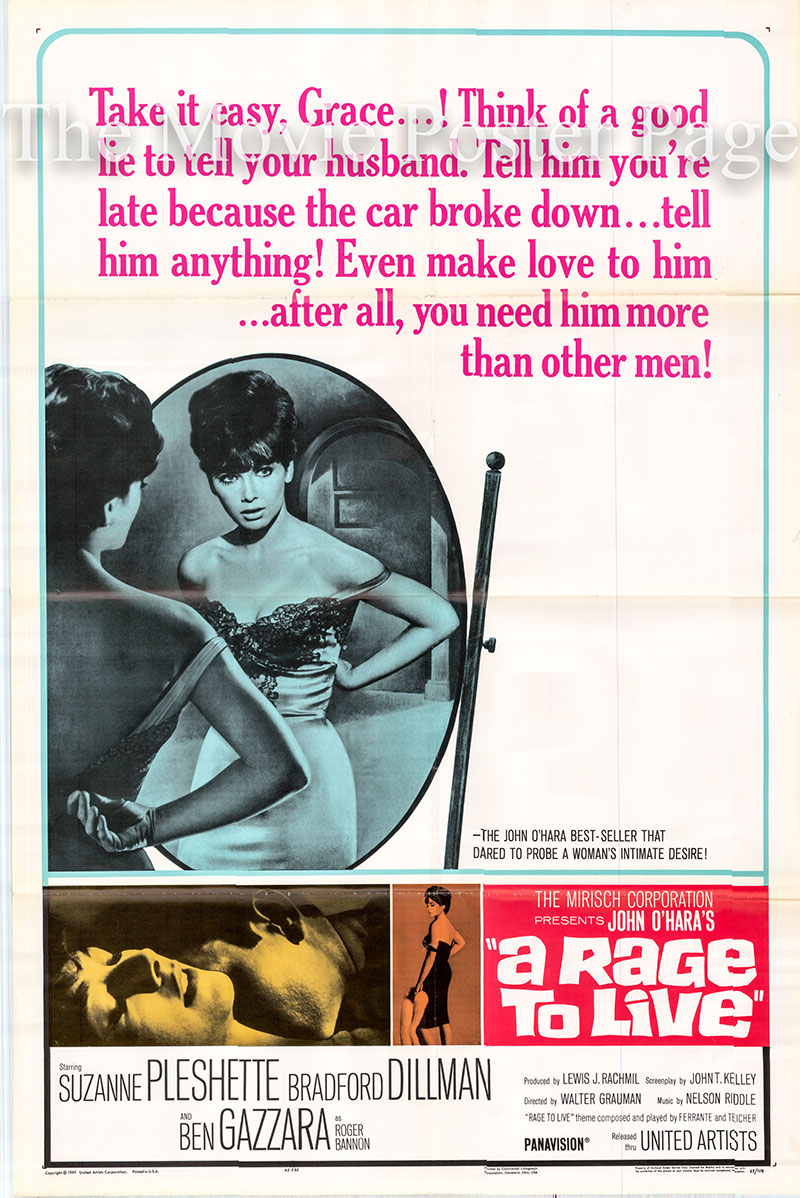 Pictured is a US one-sheet poster for the 1965 Walter Grauman film A Rage to Live starring Suzanne Pleshette as Grace Caldwell Tate.