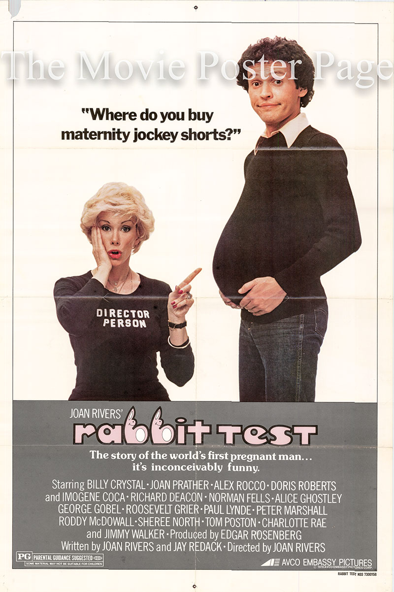 Pictured is a US one-sheet poster for the 1978 Joan Rivers film Rabbit Test starring Billy Crystal.