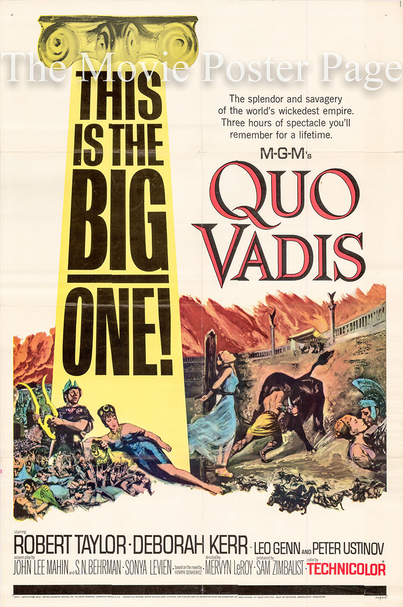 Pictured is a US one-sheet poster for a 1964 rerelease of the 1951 Mervyn LeRoy film Quo Vadis starring Robert Taylor.