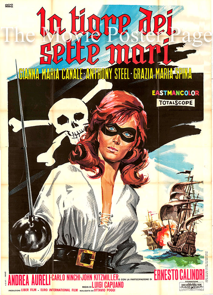 Pictured is an Italian four-sheet poster for the 1962 Luigi Caupano film Tiger of the 7 Seas starring Gianna Maria Canale as Consuelo.