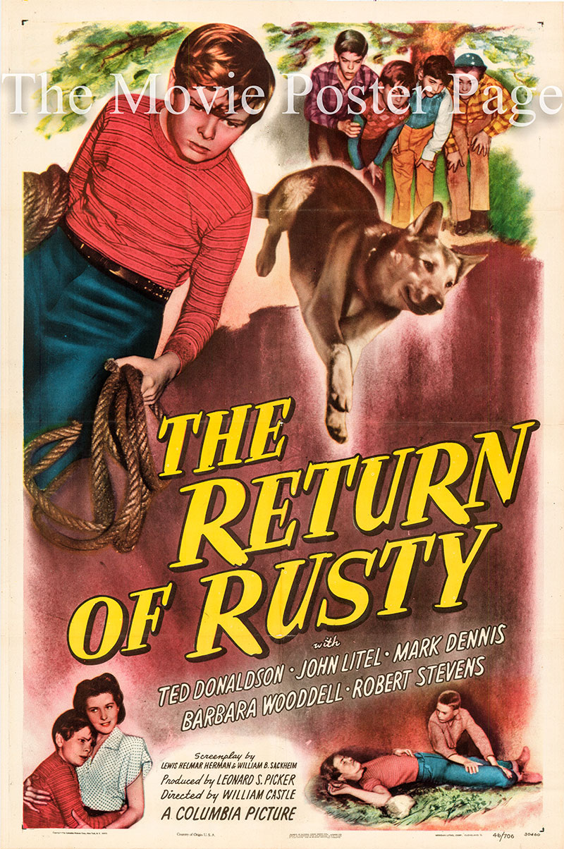 Pictured is a US one-sheet poster for the 1946 William Castle film The Return of Rusty starring Ted Donaldson as Danny Mitchell.