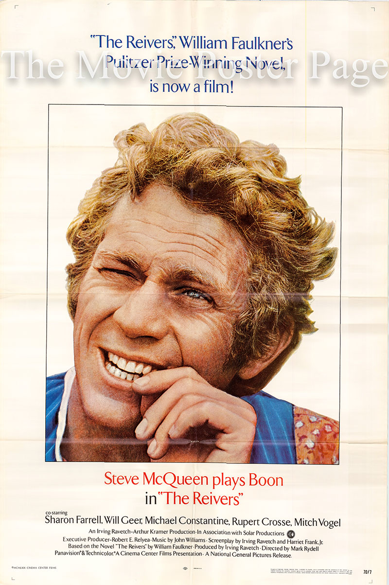 Pictured is a US one-sheet poster for the 1969 Mark Rydell film The Reivers starring Steve McQueen as Boon Hogganbeck.