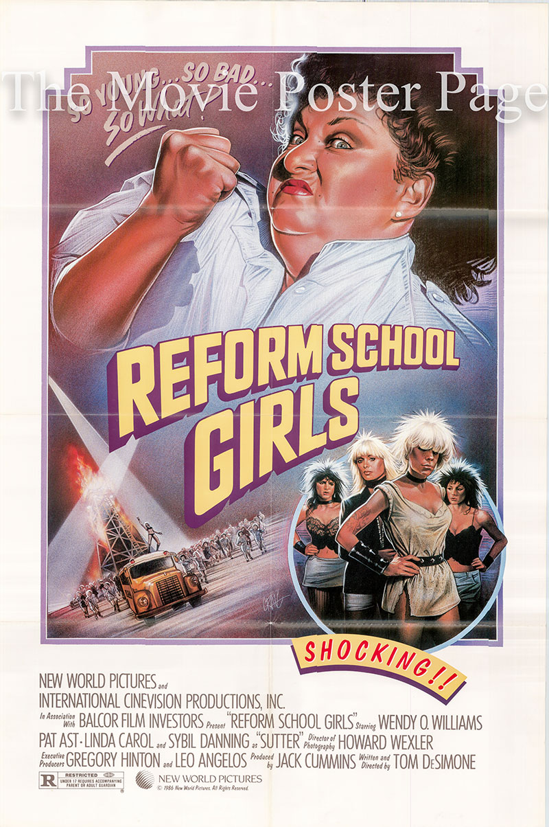 Pictured is a US one-sheet poster for the 1986 Tom DeSimone film Reform School Girls starring Linda Carol as Jenny.