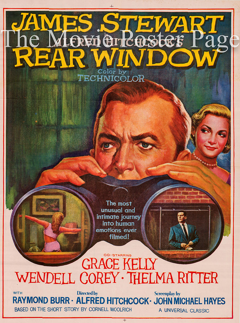 Pictured is an Indian 30x40 poster for a 1960s rerelease of the 1954 Alfred Hitchcock film Rear Window starring James Stewart as L. B. Jefferies.