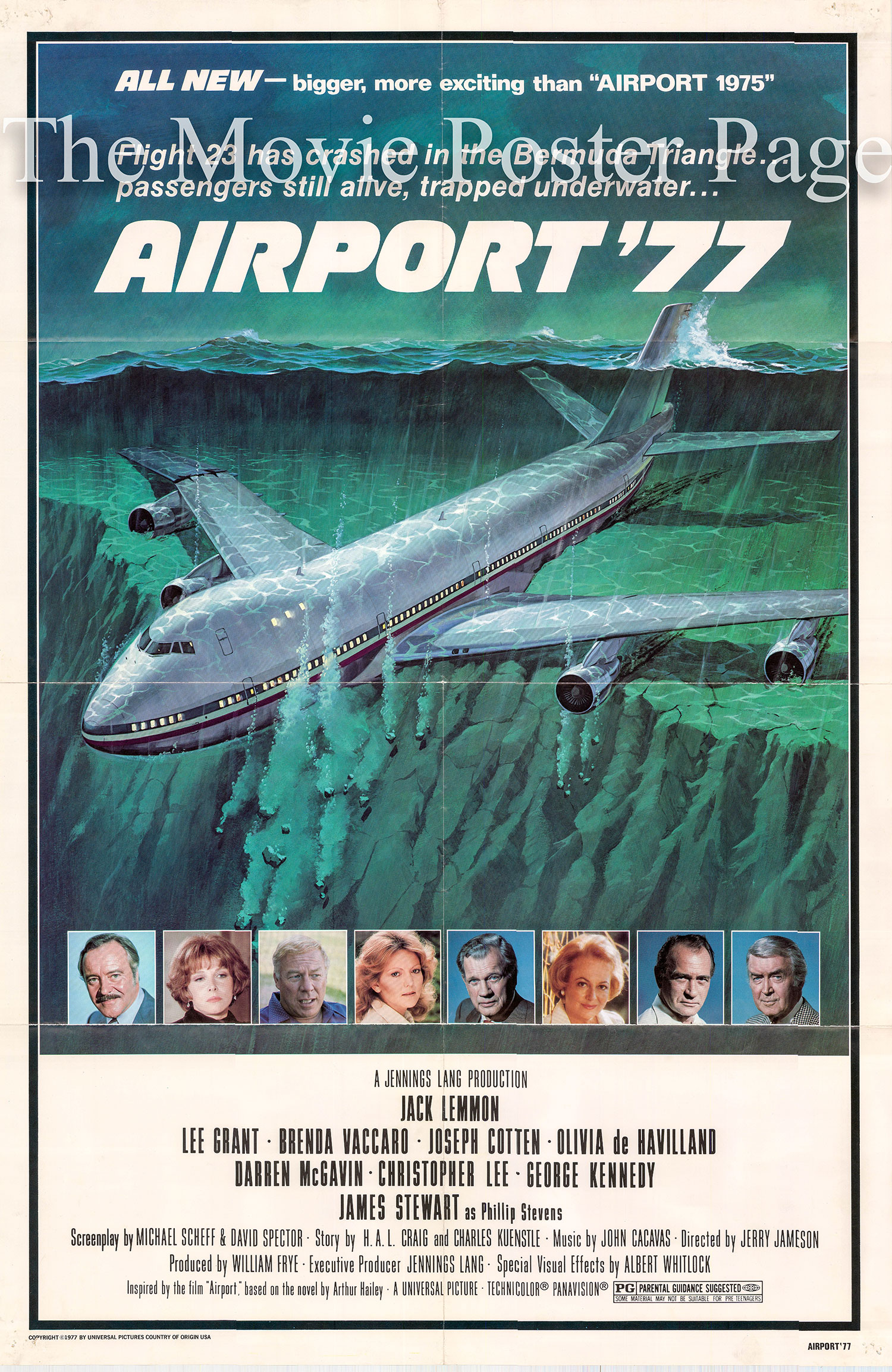 Pictured is a US promotional one-sheet for the 1977 Jerry Jameson film Airport 77 starring Jack Lemmon as Captain Don Galagher.