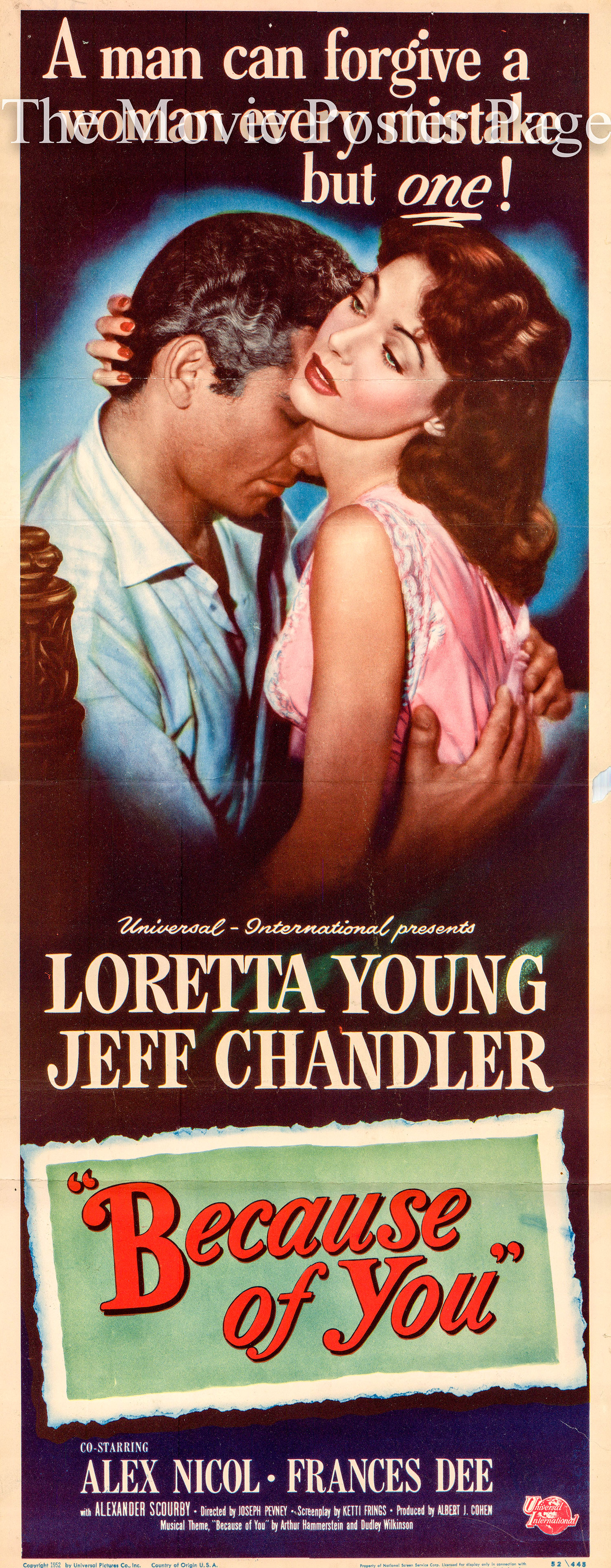 Pictured is a US insert poster for the 1952 Joseph Prevny film Because of You starring Loretta Young.