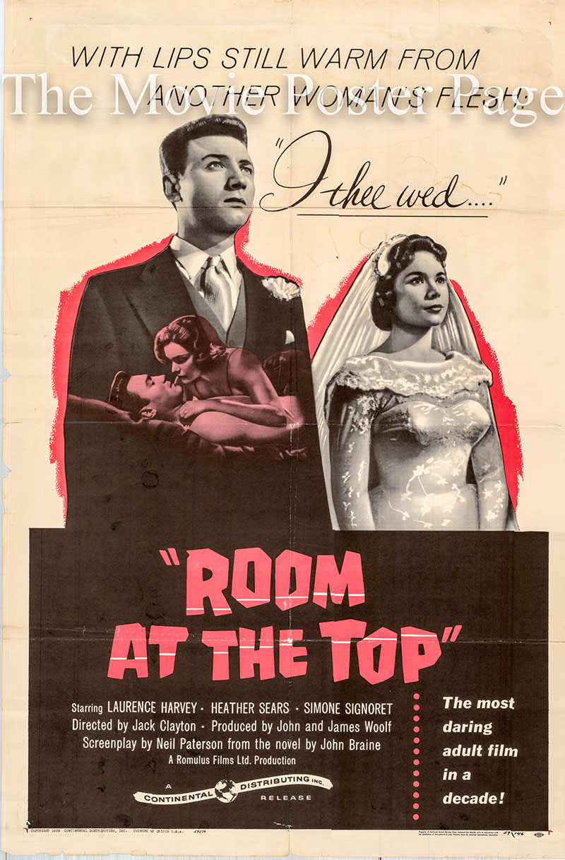 Pictured is a US one-sheet promotional poster for the 1959 Jack Clayton film Room at the Top starring Simone Signoret.