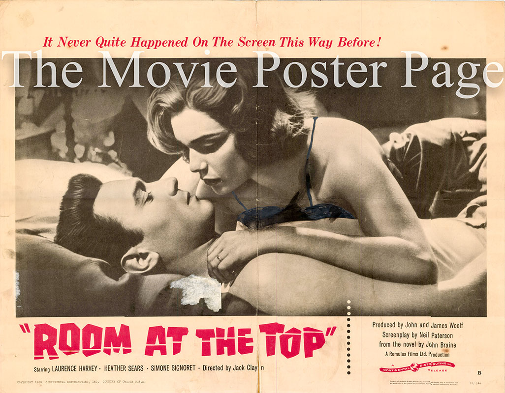 Pictured is a US half-sheet promtional poster for the 1959 Jack Clayton film Room at the Top starring Simone Signoret.