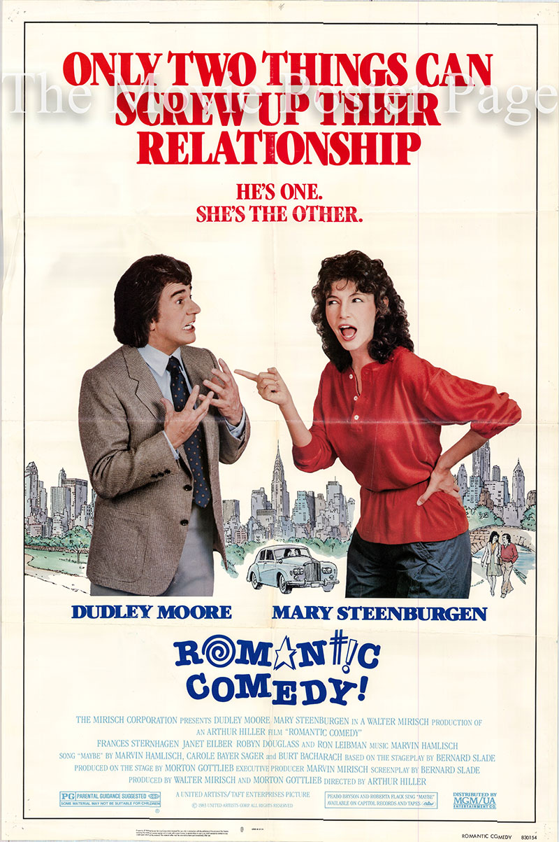 Pictured is a US one-sheet poster for the 1983 Arthur Hiller film Romantic Comedy starring Dudley Moore as Jason Carmichael.