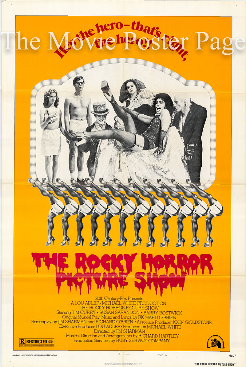 Pictured is a US promotional one-sheet poster for the 1975 Jim Sharman film The Rocky Horror Picture Show starring Tim Curry as Dr. Frank-N-Furter.