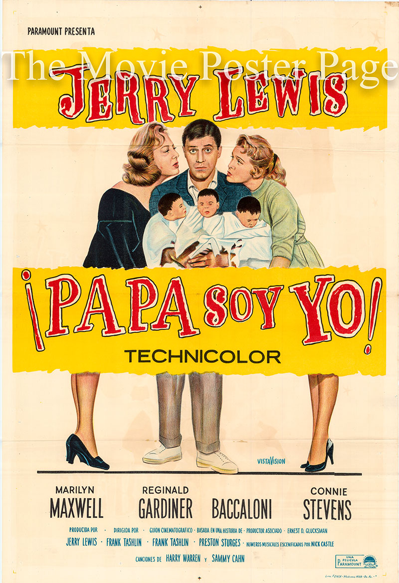 Pictured is an Argentine one-sheet poster for the 1958 Frank Tashlin film Rock-a-Bye Baby starring Jerry Lewis.