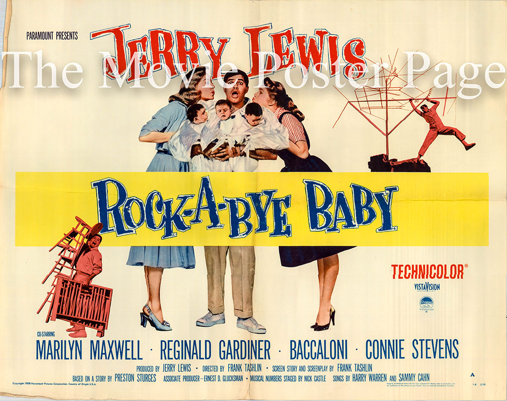 Pictured is a US half-sheet promotional poster for the 1958 Frank Tashlin film Rock-a-Bye Baby starring Jerry Lewis.