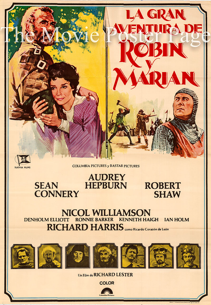 Pictured is a Spanish one-sheet poster for the 1976 Richard Lester film Robin and Marian starring Sean Connery as Robin Hood.
