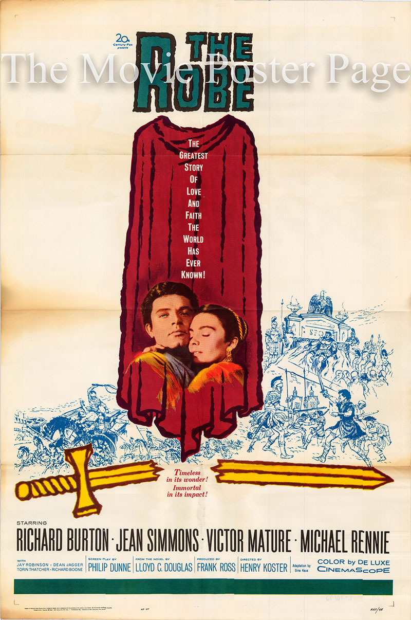 Pictured is a US one-sheet poster for a 1963 rerelease of the 1953 Henry Koster film The Robe starring Richard Burton as Marcellus Gallio.